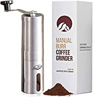 JavaPresse Manual Coffee Grinder with Adjustable Settings - Patented Conical Burr Mill & Brushed Stainless