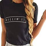 Women Summer Solid Letter Print O-Neck Casual Short Sleeve Top T-Shirt Blouse