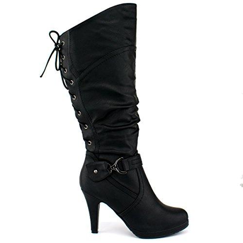 Top Moda Damen Kniehohe Stiefel mit Schnürung Premier Schwarz