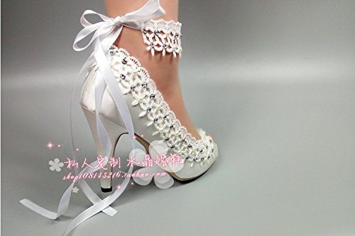 VIVIOO Shoes Pearl High Crystal Rhinestone Wedding Heel Strap Bridal Mouth Wedding Sandals Lace Flower Shoes Photography Bridesmaid 9 Prom Fish 40O8vYqrx0