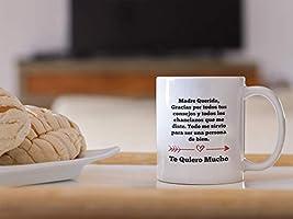 Casitika Regalos para Mama. Tazas para Cafe de Dia de Madres de 11 oz. Querida Madre Mug for Mothers Day in Spanish. Gifts for Latin Mom for Birthday.