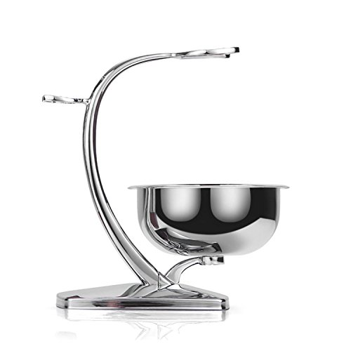 Deluxe Chrome Shaving Stand with Shaving Bowl Safety Razor And Brush Stand