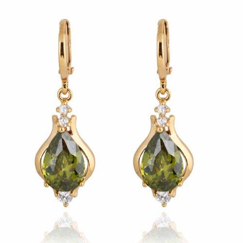 Yazilind Elegant Unique Design 18k Gold Filled Inlay Teardrop Cubic Zirconia Dangle Drop Earrings