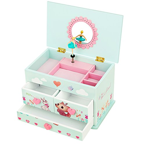 SONGMICS Musical Jewelry Box with Ballerina for Little Girls 3 Drawers, Flower Mirror and Fox Rabbit Animals UJMC23BU by SONGMICS
