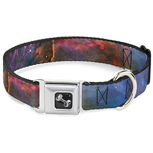 Dog Collar Seatbelt Buckle Supernova Space Collage 16 to 23 Inches 1.5 Inch Wide