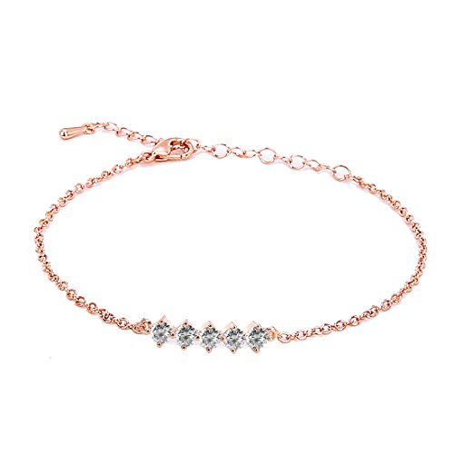 - ASHMITA Fashion Bracelets for Women Girl Rose Gold Adjustable Chain Bracelet Everyday Jewelry 6.5