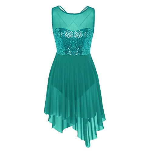 FEESHOW Women Girls Lyrical Dance Costume Dress Illusion Sweetheart Sequins Trianglar Criss Cross Back Skirt Dark Green X-Small ()