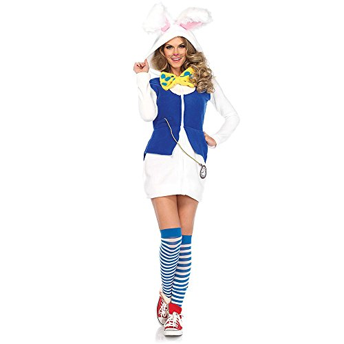 Leg Avenue Women's Cozy White Rabbit Wonderland Halloween Costume, Blue, Large ()