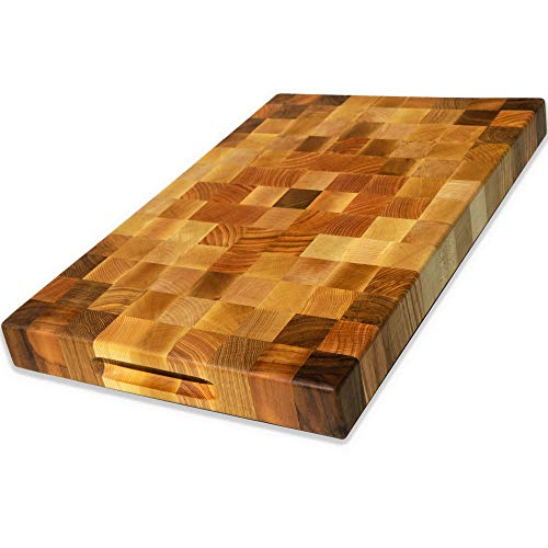 (Eco Home Wood cutting boards for kitchen - Wooden butcher block Cutting board | End grain cutting board with feet  20x14 inch)