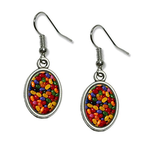Jelly Beans Candy Novelty Dangling Drop Oval Charm Earrings