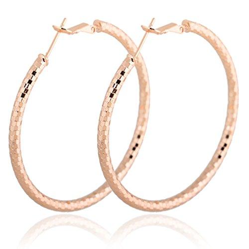 YAZILIND Shiny Simple Design Gold Plated Hoop Earrings (Cuff Yazilind Earrings)