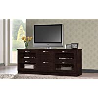 Wholesale Interiors Baxton Studio Adelino Wood TV Cabinet with 4 Glass Doors and 2 Drawers, 63, Dark Brown