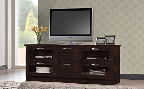 Baxton Studio Wholesale Interiors Adelino Wood TV Cabinet with 4 Glass Doors and 2 Drawers, 63
