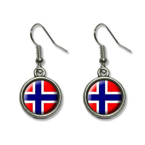 Norway Norwegian Flag Novelty Dangling Dangle Drop Charm Earrings ()