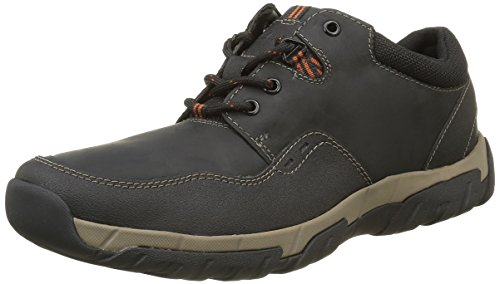 Clarks Herren Walbeck Edge Sneaker Schwarz (Black Weather Proof Lea)