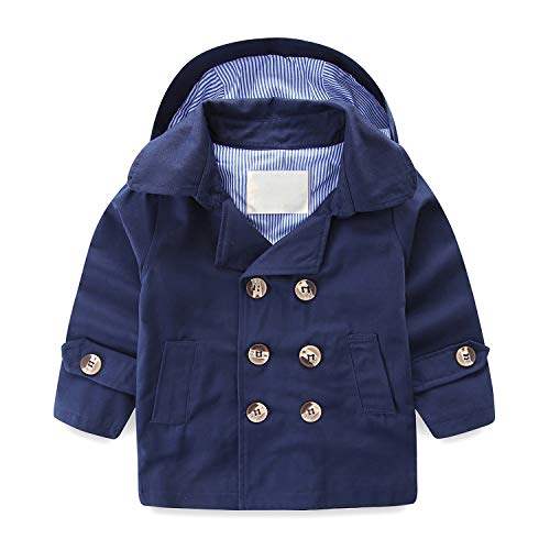 LJYH Toddler Boys' Classic Peacoat Hooded Toggle Coat Navy