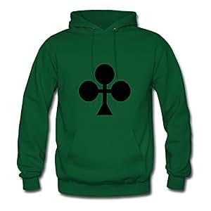 Poker Printed Women O-neck Hoodies - X-large - Electric Green