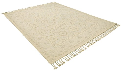 Stone Beam Heidi Floral Farmhouse Wool Area Rug, 4 x 6 Foot, Beige