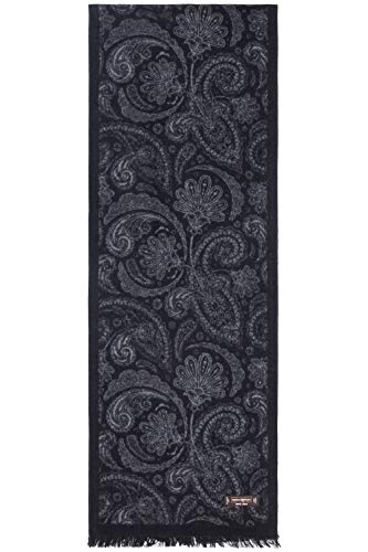 (Benson & Brown Cashmere Feel Men's Winter Fashionable Super Soft 100% Silk Brushed Classic Long Scarf (Black Grey Paisley))