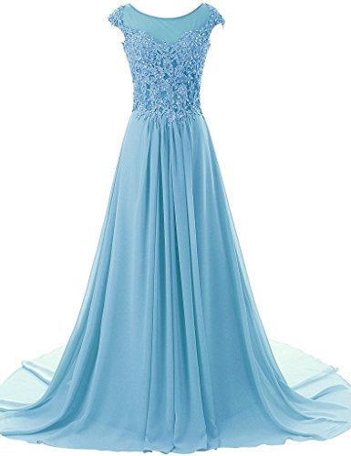 ASBridal Cap Sleeve A-line Chiffon Evening Dresses Formal Prom Gowns Long Blue US 10