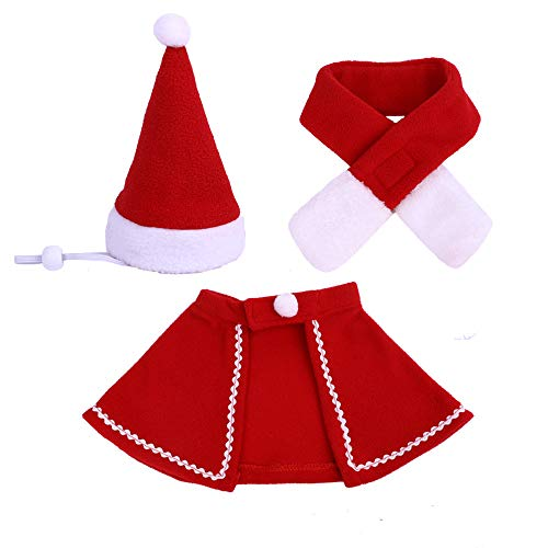 Pet Santa Hat & Scarf & Cloak Outfit Adjustable Dog Costume Hat Cat Apparel for Halloween, Christmas, New Year