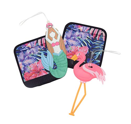 - Hang Accessories 4 PC Set- Silicone Luggage Bag Tags and Two Comfort Grip Luggage Handle Wrap Suitcase Identifier (Mermaid Flamingo and Tropical Palm)