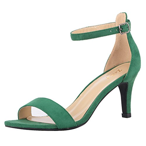 ZriEy Women's Heeled Sandals Ankle Strap High Heels 7CM Open Toe Mid Heel Sandals Bridal Party Shoes Velvet Green Size 7