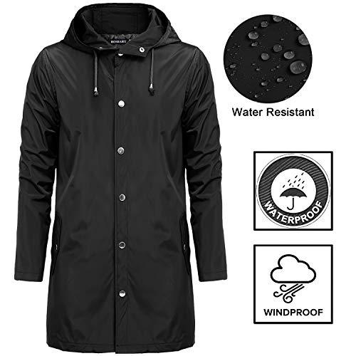 s Waterproof Lightweight Active Long Outdoor Hooded Rain Jacket for Men(Black,XL) ()