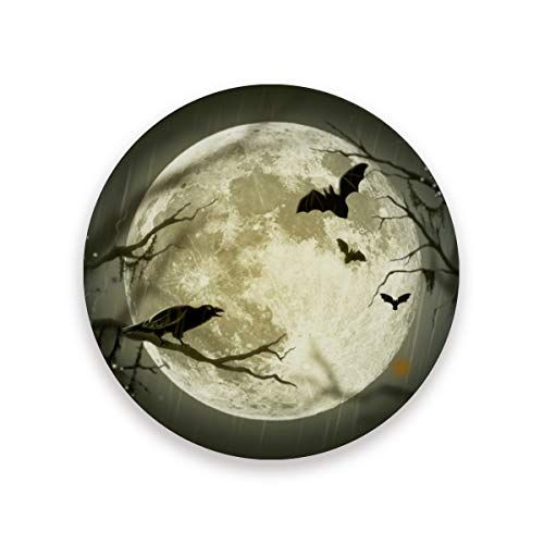 (Halloween Bat Raven Moon Ceramic Coasters for Drinks,Round 4 Piece Coaster Set)