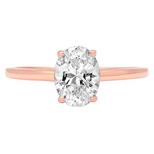 Oval Anniversary Ring Setting (0.9ct Brilliant Oval Cut Solitaire Classic Engagement Anniversary Statement Wedding Promise Bridal Petite Ring in Solid 14k Rose Gold for Women, 6)
