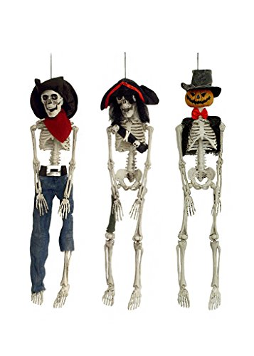 3 Spooky Hanging Posable Skeletons- Pookah Skeleton Hobgoblin, Captain Crimson Pirate, Cowboy Freddie Fear - 20 inch Posable Skeleton