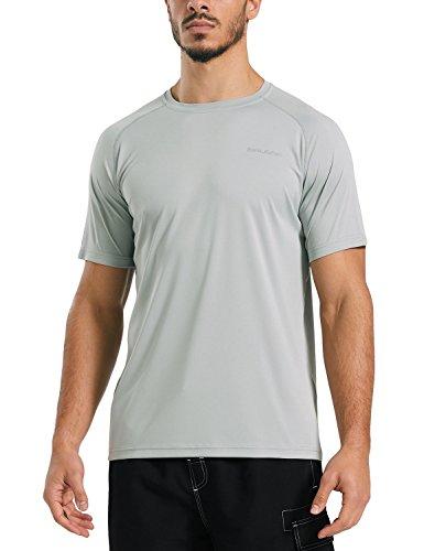 Baleaf Men's UPF 50+ Outdoor Running Workout Short-Sleeve T-Shirt Gray Size (Running Mens Sweatshirt)
