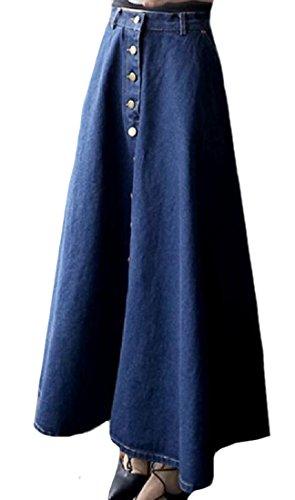 Denim Flap Pocket Skirt - Winwinus Womens Fit and Flare Denim Cotton Flap Pockets Ruffle Skirts Dark Blue M