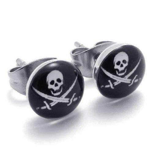 KONOV Stainless Pirates Earrings Silver