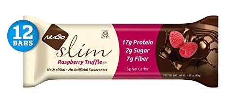 NuGo Slim Dark Chocolate Raspberry Truffle, 17g Protein, 2g Sugar, 7g Fiber, 160 Calories, Low Net Carbs, Gluten Free, 12 Count ()