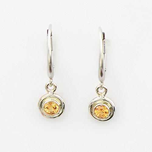 Spessartine Garnet Earrings in White Gold on Euroclips Yellow Orange Garnet Dangle Earrings Fine Handmade Jewelry Spessartite Garnet