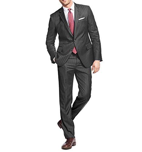 Gino Vitale Men's Slim-Fit Bold Stripe 2 Piece Suit, Charcoal, Size 42Rx36W