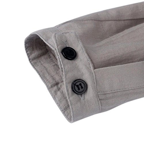 larga calidad elegante Slim Tops de Lino Crazy Camisas alta manga Negocio informal Aimee7 Casual Camiseta de Manga Man Sales Fit gris YfOqwYx4P