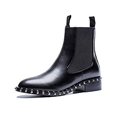 Amazon.com | Black Fashion Ankle Boots for Women Round Toe