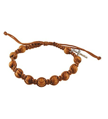 Rosary Bracelets Olive Wood Finish with Silver Toned Crucifix Charm, 7 1/2 Inch
