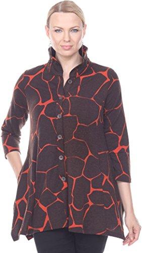 - Terra-Sj Apparel Women's 3/4 Length Sleeve Button Down Jacket with Convertible Collar