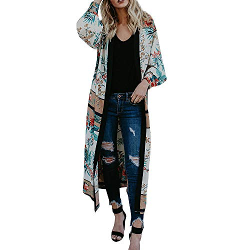 Franterd Womens Cardigans Fall Floral Kimono Belt Bandage Shawl Beach Cover Up Beachwear Long Sleeve Blouse, Japan Style by Franterd