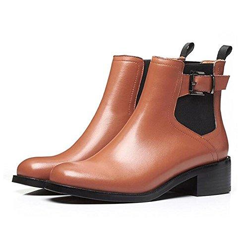 NSXZ Botas cortas de tobillo elástico de cuero genuino de la manera de las mujeres , brown , 37 38-BROWN