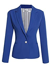 Meaneor Woman's Basic One-Buckle Solid Slim Fit Blazer w/ Pockets