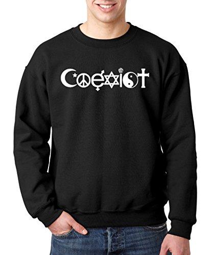 New Way 498 - Crewneck Coexist World Peace Religion Anti-War Symbol Unisex Pullover Sweatshirt 3XL Black