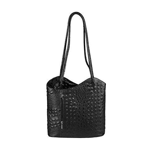 OBC MADE IN ITALY ledertasche-rucksack AVESTRUZ Repujado Bolso Mujer 2 en 1 BOLSA BOLSO de Hombro Bolso de hombro con asas Tableta/iPad aprox. 10-12 pulgadas 27x29x8 cm (BxHxT ) Negro (Cocodrilo)