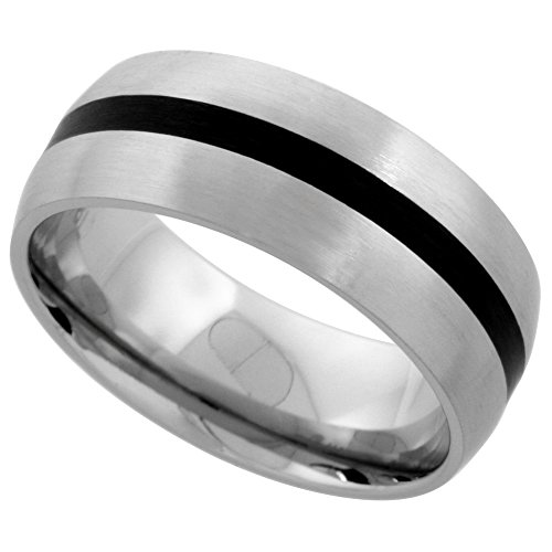 Stainless Wedding Stripe Center Comfort fit
