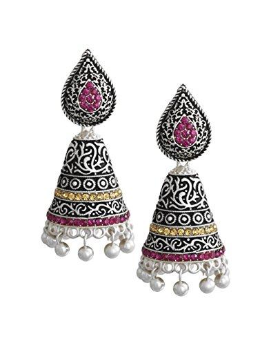 Zaveri Pearls Dark Antique Designer Oxidised Jhumki Earring For Women – ZPFK5977