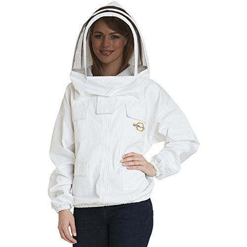 Natural Apiary Apiarist Beekeeping Jacket - White - Fencing Veil - Total Protection for Professional & Beginner Beekeepers - Large one of the best beekeeping gifts