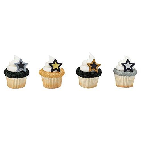 Grad Stars Cupcake Rings 12 (Star Cake Ring)